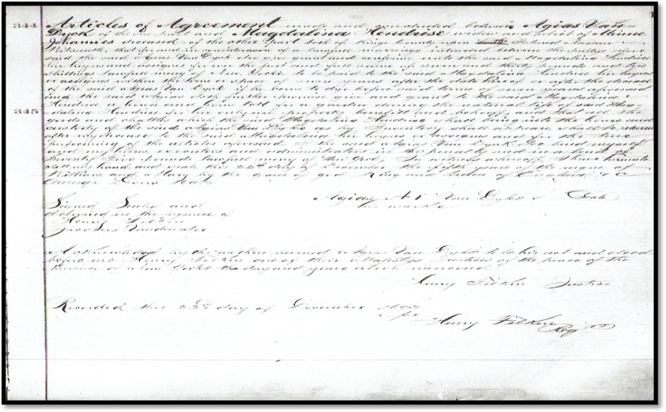 1693 marriage Agreement of Agias Van Dyke and Magdalina Hendrickse