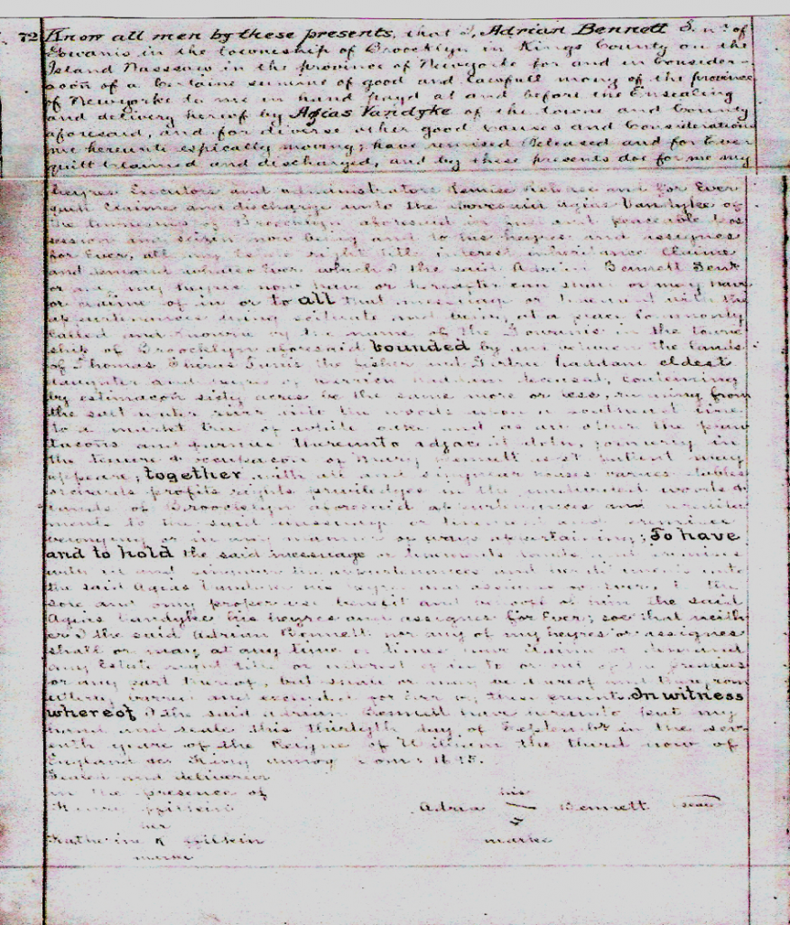 1695 land deed of Agais Van Dyke